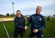 7 December 2019; Clare manager Brian Lohan, left, and Galway manager Shane O'Neill shake hands following the Inter-county challenge match between Galway and Clare at Ballinderreen GAA Club in Muggaunagh, Co. Galway. Photo by David Fitzgerald/Sportsfile