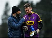 7 December 2019; Wexford manager Paul Galvin in conversation with goalkeeper Pat Doyle as the make their way off the field for the half time break during the 2020 O'Byrne Cup Round 1 match between Wexford and Westmeath at St. Patrick's Park in Enniscorthy, Wexford. Photo by Ray McManus/Sportsfile
