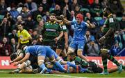 7 December 2019; Josh van der Flier of Leinster celebrates a try by Ed Byrne during the Heineken Champions Cup Pool 1 Round 3 match between Northampton Saints and Leinster at Franklins Gardens in Northampton, England. Photo by Ramsey Cardy/Sportsfile