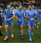 7 December 2019; Robbie Henshaw, left, James Lowe, centre, and Rob Kearney of Leinster following the Heineken Champions Cup Pool 1 Round 3 match between Northampton Saints and Leinster at Franklins Gardens in Northampton, England. Photo by Ramsey Cardy/Sportsfile