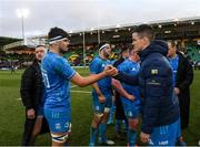 7 December 2019; Max Deegan, left, and Jonathan Sexton of Leinster following the Heineken Champions Cup Pool 1 Round 3 match between Northampton Saints and Leinster at Franklins Gardens in Northampton, England. Photo by Ramsey Cardy/Sportsfile