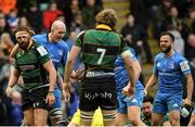 7 December 2019; Devin Toner, left, and Jamison Gibson-Park of Leinster celebrate a try during the Heineken Champions Cup Pool 1 Round 3 match between Northampton Saints and Leinster at Franklins Gardens in Northampton, England. Photo by Ramsey Cardy/Sportsfile