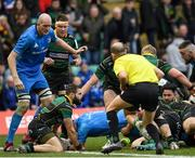 7 December 2019; Cian Healy of Leinster dives over to score his side's fourth try during the Heineken Champions Cup Pool 1 Round 3 match between Northampton Saints and Leinster at Franklins Gardens in Northampton, England. Photo by Ramsey Cardy/Sportsfile