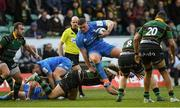 7 December 2019; Tadhg Furlong of Leinster is tackled by Tom Wood of Northampton Saints during the Heineken Champions Cup Pool 1 Round 3 match between Northampton Saints and Leinster at Franklins Gardens in Northampton, England. Photo by Ramsey Cardy/Sportsfile