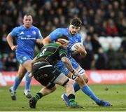 7 December 2019; Max Deegan of Leinster in action against Teimana Harrison of Northampton Saints during the Heineken Champions Cup Pool 1 Round 3 match between Northampton Saints and Leinster at Franklins Gardens in Northampton, England. Photo by Ramsey Cardy/Sportsfile