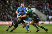 7 December 2019; Ed Byrne of Leinster is tackled by Connor Tupai, left, and Francois van Wyk of Northampton Saints during the Heineken Champions Cup Pool 1 Round 3 match between Northampton Saints and Leinster at Franklins Gardens in Northampton, England. Photo by Ramsey Cardy/Sportsfile