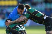 7 December 2019; Rónan Kelleher of Leinster is tackled by Matt Proctor and Teimana Harrison of Northampton Saints during the Heineken Champions Cup Pool 1 Round 3 match between Northampton Saints and Leinster at Franklins Gardens in Northampton, England. Photo by Ramsey Cardy/Sportsfile