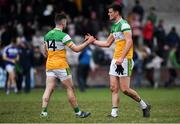 7 December 2019; Jason Dempsey, right, and Bernard Allen of Offaly embrace following the 2020 O'Byrne Cup Round 1 match between Laois and Offaly at McCann Park in Portarlington, Co Laois. Photo by Harry Murphy/Sportsfile