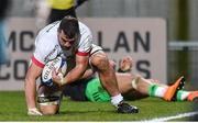 7 December 2019; Sean Reidy of Ulster after scoring his side's first try during the Heineken Champions Cup Pool 3 Round 3 match between Ulster and Harlequins at Kingspan Stadium in Belfast. Photo by Oliver McVeigh/Sportsfile