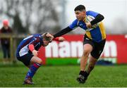 14 January 2019; Adel Mahmoud of CBS Naas is tackled by Jamie Keane of Salesian College during the Bank of Ireland Fr. Godfrey Cup Round 1 match between CBS Naas and Salesian College at Cill Dara RFC in Kildare. Photo by Eóin Noonan/Sportsfile