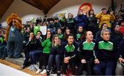 22 January 2019; Teachers, pupils and the mascot from St Louis Carrickmacross players watch the final moments of the the Subway All-Ireland Schools Cup U19 C Girls Final match between St Louis Carrickmacross and Laurel Hill Limerick at the National Basketball Arena in Tallaght, Dublin. Photo by Brendan Moran/Sportsfile
