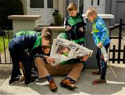 16 June 2019; Oran Crowley, 11, Stalker Wallace, Ben Egan, 6, Mike Carroll, Ted Egan, 9, David Magner, 9, and Jack Egan, 8, all from Effin, read a paper before the Munster GAA Hurling Senior Championship Round 5 match between Tipperary and Limerick in Semple Stadium in Thurles, Tipperary. Photo by Ray McManus/Sportsfile