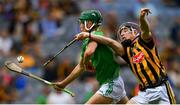 27 July 2019; Patrick Kirby of Limerick in action against Pierce Blanchfield of Kilkenny during the Electric Ireland GAA Hurling All-Ireland Minor Championship Semi-Final match between Kilkenny and Limerick at Croke Park in Dublin. Photo by Piaras Ó Mídheach/Sportsfile