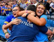 28 July 2019; Tipperary manager Liam Sheedy celebrates with daughters Gemma, left, and Aisling following his side's victory during the GAA Hurling All-Ireland Senior Championship Semi Final match between Wexford and Tipperary at Croke Park in Dublin. Photo by Seb Daly/Sportsfile