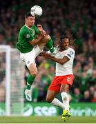 5 September 2019; Enda Stevens of Republic of Ireland in action against Kevin Mbabu of Switzerland during the UEFA EURO2020 Qualifier Group D match between Republic of Ireland and Switzerland at Aviva Stadium, Dublin. Photo by Stephen McCarthy/Sportsfile