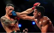 27 September 2019; Hugo Pereira, right, in action against Kiefer Crosbie during their contract weight bout at Bellator 227 in the 3Arena, Dublin. Photo by David Fitzgerald/Sportsfile