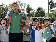 11 October 2019; Rhys Ruddock sings 'Ireland's Call' with students during a visit by the Ireland rugby squad to Kasuga Elementary School in Kusaga, Fukuoka, Japan. Photo by Brendan Moran/Sportsfile