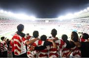 20 October 2019; Japan supporters during the National Anthem ahead of the 2019 Rugby World Cup Quarter-Final match between Japan and South Africa at the Tokyo Stadium in Chofu, Japan. Photo by Ramsey Cardy/Sportsfile