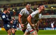 22 November 2019; John Cooney of Ulster celebrates after scoring his side's second try during the Heineken Champions Cup Pool 3 Round 2 match between Ulster and ASM Clermont Auvergne at Kingspan Stadium in Belfast. Photo by Oliver McVeigh/Sportsfile