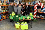 8 December 2019; Republic of Ireland manager Mick McCarthy was on hand today to hand over Republic of Ireland bags filled with jerseys, footballs, scarfs & other merchandise to St Vincent De Paul staff, at the St Vincent De Paul depot on Sean McDermott Street, Summerhill, Dublin. The gifts are part of an annual Christmas donation for families in need. Pictured are, from left, St Vincent De Paul staff, Liam Casey, East Region President, Colm Kenny, Area Manager, East Region Retail, Sorcha Holmes, Fundraising Manager, East Region, and Lynn Byrne, East Region Retail Manager, with Republic of Ireland manager Mick McCarthy, at the St Vincent De Paul depot on Sean McDermott Street, Summerhill, Dublin. Photo by Seb Daly/Sportsfile
