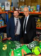 8 December 2019; Republic of Ireland manager Mick McCarthy was on hand today to hand over Republic of Ireland bags filled with jerseys, footballs, scarfs & other merchandise to St Vincent De Paul staff, at the St Vincent De Paul depot on Sean McDermott Street, Summerhill, Dublin. The gifts are part of an annual Christmas donation for families in need. Pictured are Republic of Ireland manager Mick McCarthy, right, and corporate volunteer Pol O Murchu, AIB Swoards, at the St Vincent De Paul depot on Sean McDermott Street, Summerhill, Dublin. Photo by Seb Daly/Sportsfile