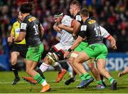 7 December 2019; Marcell Coetzee of Ulster is tackled by James Lang and Alex Dombrandt of Harlequins during the Heineken Champions Cup Pool 3 Round 3 match between Ulster and Harlequins at Kingspan Stadium in Belfast. Photo by Oliver McVeigh/Sportsfile