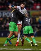 7 December 2019; Stuart McCloskey of Ulster is tackled by Travis Ismaiel and Ross Chisholm  of Harlequins during the Heineken Champions Cup Pool 3 Round 3 match between Ulster and Harlequins at Kingspan Stadium in Belfast. Photo by Oliver McVeigh/Sportsfile