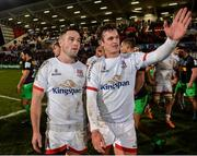 7 December 2019; John Cooney of Ulster, left, who scored the winning penalty in the closing stages, along with team-mate Billy Burns, celebrate after the Heineken Champions Cup Pool 3 Round 3 match between Ulster and Harlequins at Kingspan Stadium in Belfast. Photo by Oliver McVeigh/Sportsfile