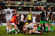 7 December 2019; Referee Mike Adamson awards a third Ulster try after a push over during the Heineken Champions Cup Pool 3 Round 3 match between Ulster and Harlequins at Kingspan Stadium in Belfast. Photo by Oliver McVeigh/Sportsfile