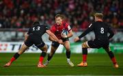 7 December 2019; Mike Haley of Munster is tackled by Alex Lozowski and Jackson Wray of Saracens during the Heineken Champions Cup Pool 4 Round 3 match between Munster and Saracens at Thomond Park in Limerick. Photo by Diarmuid Greene/Sportsfile