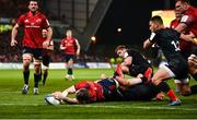 7 December 2019; Peter O'Mahony of Munster scores his side's first try despite the efforts of Brad Barritt of Saracens during the Heineken Champions Cup Pool 4 Round 3 match between Munster and Saracens at Thomond Park in Limerick. Photo by Diarmuid Greene/Sportsfile
