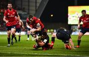 7 December 2019; Peter O'Mahony of Munster is tackled by Brad Barritt of Saracens before going on to score his side's first try during the Heineken Champions Cup Pool 4 Round 3 match between Munster and Saracens at Thomond Park in Limerick. Photo by Diarmuid Greene/Sportsfile