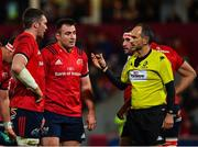 7 December 2019; Referee Romain Poite, right, talk to Peter O'Mahony, left, and Niall Scannell of Munster during the Heineken Champions Cup Pool 4 Round 3 match between Munster and Saracens at Thomond Park in Limerick. Photo by Seb Daly/Sportsfile