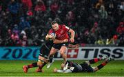 7 December 2019; Rory Scannell of Munster is tackled by Ben Earl and Ben Spencer of Saracens during the Heineken Champions Cup Pool 4 Round 3 match between Munster and Saracens at Thomond Park in Limerick. Photo by Brendan Moran/Sportsfile