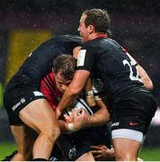 7 December 2019; Mike Haley of Munster is tackled by Matt Gallagher and Max Malins of Saracens during the Heineken Champions Cup Pool 4 Round 3 match between Munster and Saracens at Thomond Park in Limerick. Photo by Brendan Moran/Sportsfile