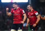 7 December 2019; JJ Hanrahan and Jack O'Donoghue of Munster celebrate a turnover during the Heineken Champions Cup Pool 4 Round 3 match between Munster and Saracens at Thomond Park in Limerick. Photo by Diarmuid Greene/Sportsfile