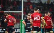 7 December 2019; Referee Romain Poite, right, shows a red card to Arno Botha of Munster, left, during the Heineken Champions Cup Pool 4 Round 3 match between Munster and Saracens at Thomond Park in Limerick. Photo by Seb Daly/Sportsfile