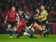 7 December 2019; Titi Lamositele of Saracens is tackled by Peter O'Mahony of Munster during the Heineken Champions Cup Pool 4 Round 3 match between Munster and Saracens at Thomond Park in Limerick. Photo by Seb Daly/Sportsfile