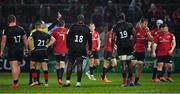 7 December 2019; Arno Botha of Munster, 3rd from right, leaves the pitch as he is shown a red card by referee Romain Poite during the Heineken Champions Cup Pool 4 Round 3 match between Munster and Saracens at Thomond Park in Limerick. Photo by Brendan Moran/Sportsfile