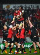 7 December 2019; Peter O'Mahony of Munster takes possession in a line-out ahead of ahead of Maro Itoje of Saracens during the Heineken Champions Cup Pool 4 Round 3 match between Munster and Saracens at Thomond Park in Limerick. Photo by Seb Daly/Sportsfile