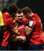 7 December 2019; Peter O'Mahony of Munster is congratulated by team-mates Jean Kleyn and Tadhg Beirne after scoring his side's first try during the Heineken Champions Cup Pool 4 Round 3 match between Munster and Saracens at Thomond Park in Limerick. Photo by Diarmuid Greene/Sportsfile