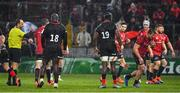 7 December 2019; Arno Botha of Munster, 2nd from right, leaves the pitch as he is shown a red card by referee Romain Poite during the Heineken Champions Cup Pool 4 Round 3 match between Munster and Saracens at Thomond Park in Limerick. Photo by Brendan Moran/Sportsfile