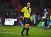 7 December 2019; Referee Romain Poite checks with the TMO after a last second clash between Arno Botha of Munster and Nick Tompkins of Saracens resulting in a red card for Botha during the Heineken Champions Cup Pool 4 Round 3 match between Munster and Saracens at Thomond Park in Limerick. Photo by Brendan Moran/Sportsfile