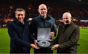 7 December 2019; EPCR Director General Vincent Gaillard, left, and EPCR board member Mick Kearney make a presentation to former Munster captain Paul O'Connell during the Heineken Champions Cup Pool 4 Round 3 match between Munster and Saracens at Thomond Park in Limerick. Photo by Brendan Moran/Sportsfile