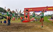 8 December 2019; The Ireland U23 Women's team, from left, Eilish Flanagan, Roisin Flanagan, Stephanie Cotter, Claire Fagan, Sorcha McAlister and Fian Sweeney celebrate winning a team silver medal during the European Cross Country Championships 2019 at Bela Vista Park in Lisbon, Portugal. Photo by Sam Barnes/Sportsfile