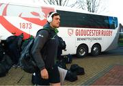 8 December 2019; Quinn Roux of Connacht arrives ahead of the Heineken Champions Cup Pool 5 Round 3 match between Gloucester and Connacht at Kingsholm Stadium in Gloucester, England. Photo by Ramsey Cardy/Sportsfile