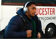 8 December 2019; Bundee Aki of Connacht arrives ahead of the Heineken Champions Cup Pool 5 Round 3 match between Gloucester and Connacht at Kingsholm Stadium in Gloucester, England. Photo by Ramsey Cardy/Sportsfile