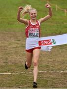 8 December 2019; Anna-Emilie Møller of Denmark crosses the line to win the Women's U23 event during the European Cross Country Championships 2019 at Bela Vista Park in Lisbon, Portugal. Photo by Sam Barnes/Sportsfile