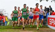 8 December 2019; Ireland athletes, from left, Daragh McElhinney, Keelan Kilrehill and Efrem Gidey competing in the Men's U20 event during the European Cross Country Championships 2019 at Bela Vista Park in Lisbon, Portugal. Photo by Sam Barnes/Sportsfile