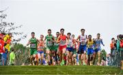 8 December 2019; Ireland athletes, from left, Daragh McElhinney, Keelan Kilrehill and Efrem Gidey and eventual first place winner Jakob Ingebrigtsen of Norway, third from right, competing in the Men's U20 event during the European Cross Country Championships 2019 at Bela Vista Park in Lisbon, Portugal. Photo by Sam Barnes/Sportsfile